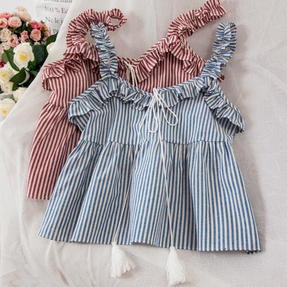 2018 Wome vest Fashion Sweet Womens New Tassels Stripe Top female camis