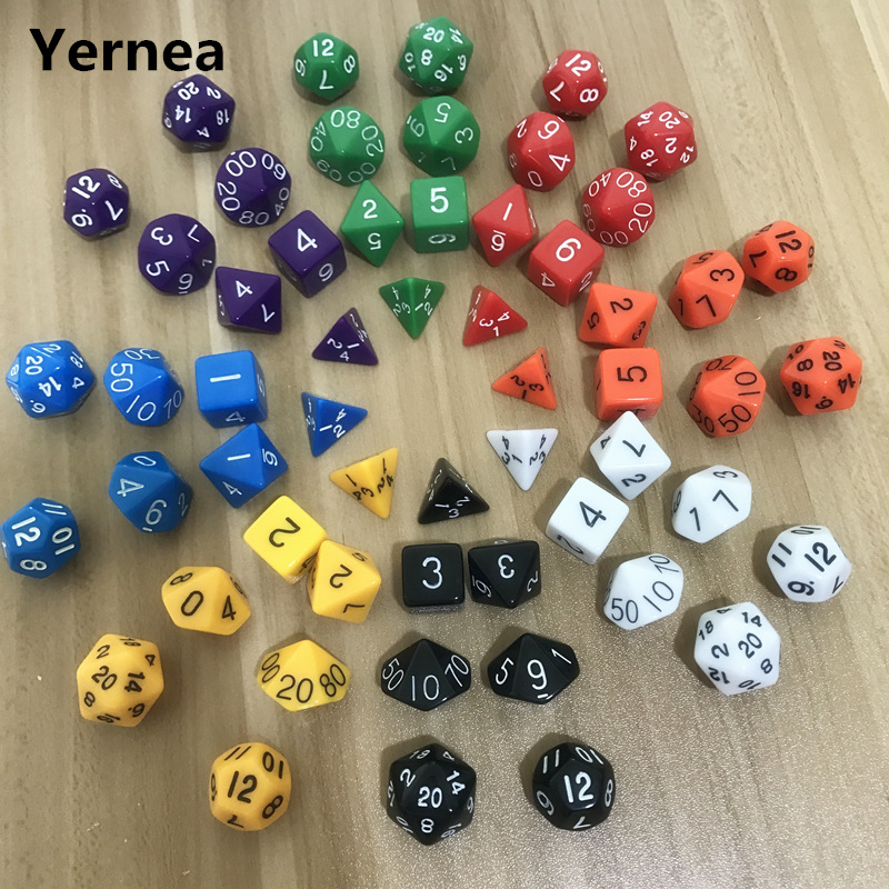 7Pcs/Lot Dice Set Dungeon And Dragons RPG Wholesale High Quality Multi-sided Dice D4 D6 D8 D10 D10 D12 D20 Yernea