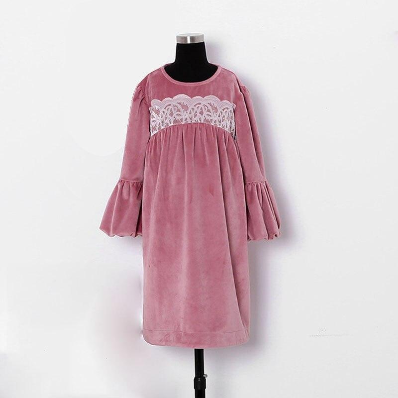 3 8 Yrs Baby Girls Pink Velvet Lace Christmas Dresses