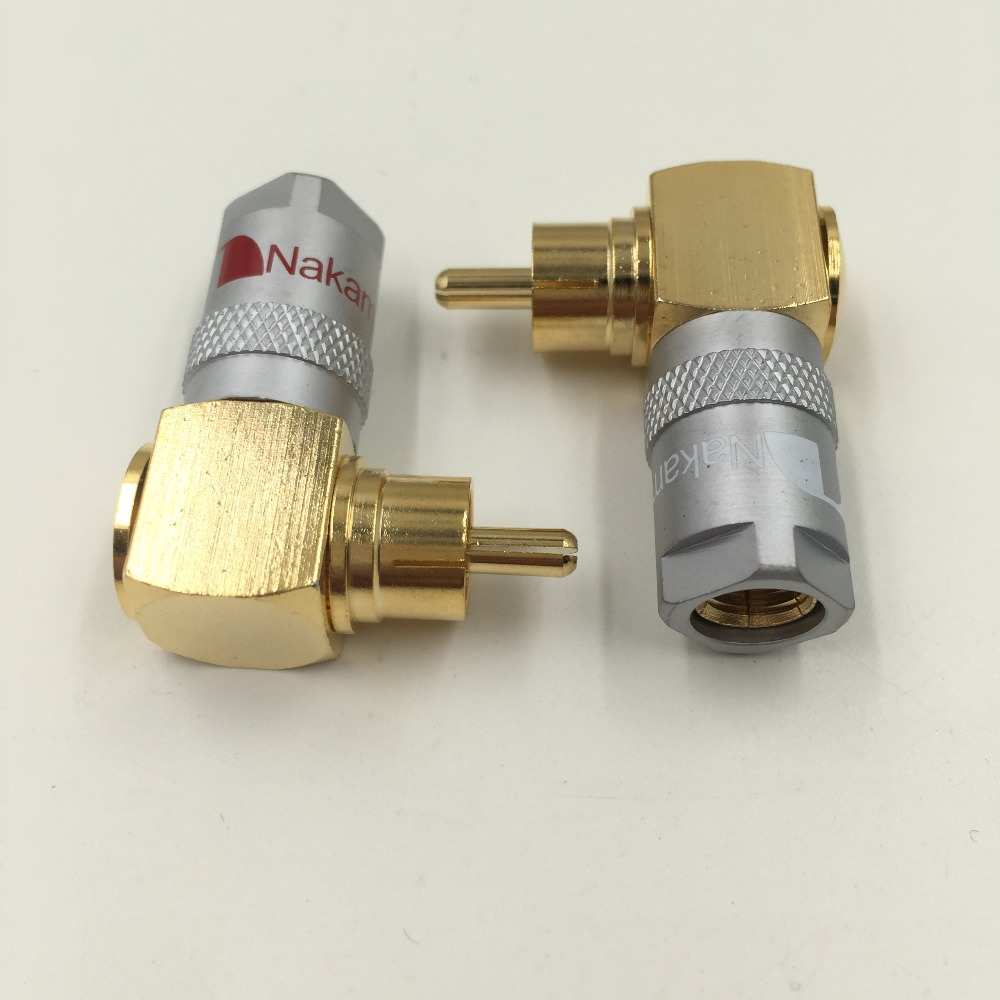 1Pair Monster Gold Plated Copper Angled RCA Plug Free Soldering Male Connector tad 1017a 3 in 1 gold plated copper socket f male connector golden