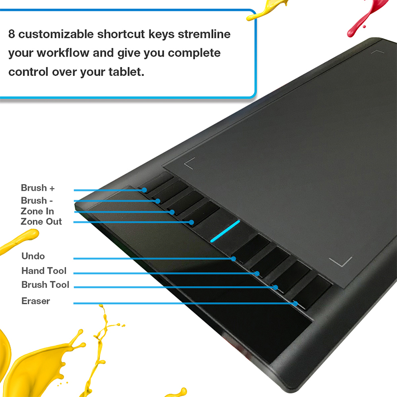 Ugee M708 V2 tablette graphique numérique pour dessin 10x6 pouces tablette de peinture 8192 niveau tablette graphique avec stylo sans batterie - 6