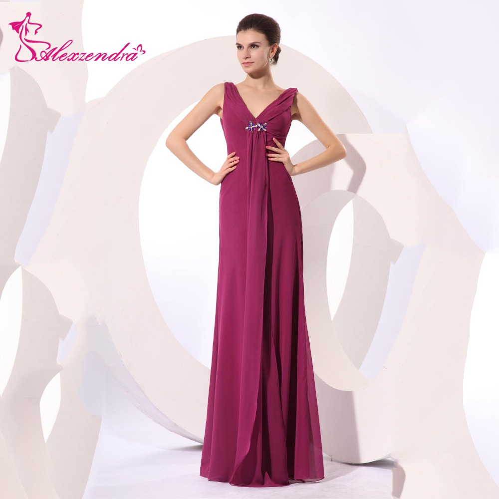 Alexzendra A Line Chiffon Double V Neck Prom Dresses Evening Gown Natural Waist Floor Le ...
