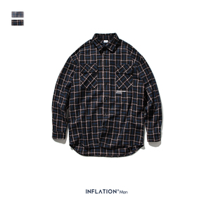 Image 5 - Мужская классическая Повседневная рубашка INFLATION, клетчатая рубашка с длинным рукавом, хлопковая винтажная рубашка 92107W, осень 2020