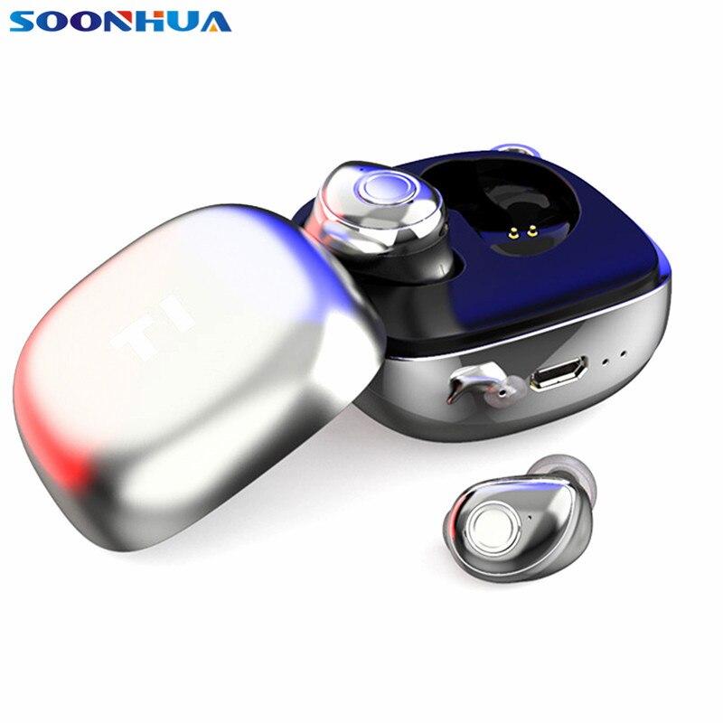 SOONHUA étanche sans fil Bluetooth 5.0 écouteurs TWS 3D stéréo écouteurs longue veille sport écouteurs avec Microphone pour téléphone