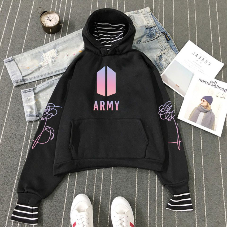 BTS Bangtan Boys Hoodies Army BTS Logo Pullovers Hoodies and Sweatshirts Women Striped Patchwork Fake Two Pieces Clothes A5391