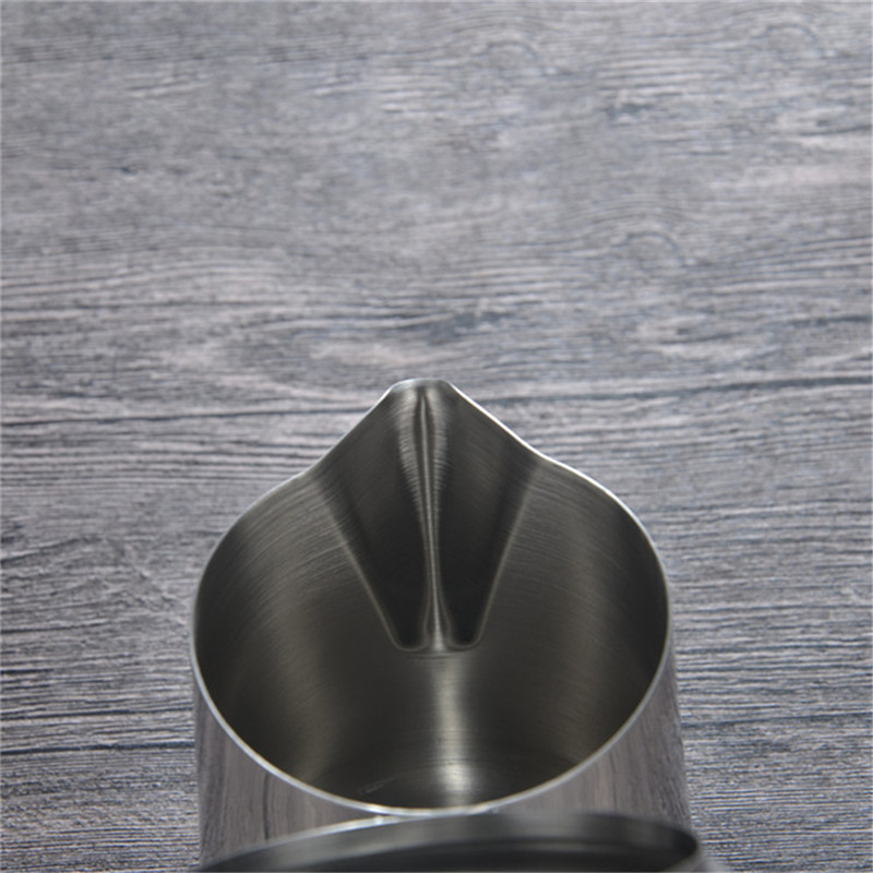 SEAAN Stainless Steel Pull Cup with Lid Fancy Tip Cup Coffee Pull Teapot Pull Flower Jar Milk Foam Cup  Coffee Accessories