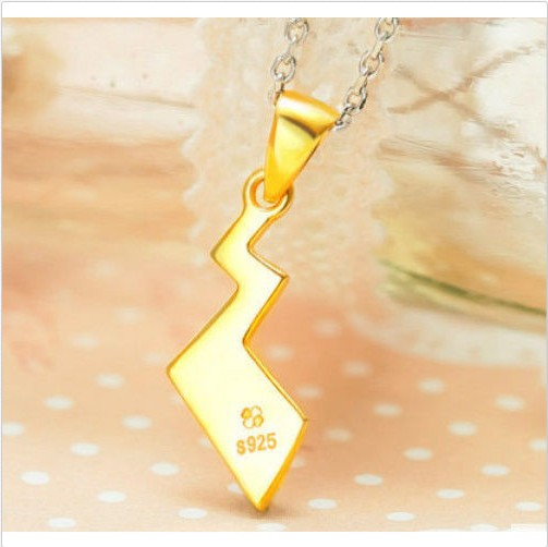 Silver Necklace  Amime Pikachu Pokemon Tail Zip Pendant Cosplay Cute
