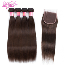 Queen Love Hair Pre-Colored Straight Peruvian Hair 4 Bundles With Lace Closure #2 Color Non Remy 100% Human Hair  Extensions