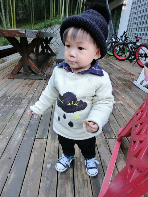 fashion new INS Children's clouds  Raindrop cardingans sweater boy girl bobochoses long sleeve knitted  clothes  white cotton