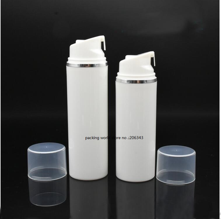 150ML white plastic airless bottle with silver line for lotion emulsion serum anti UV sunscreen cream