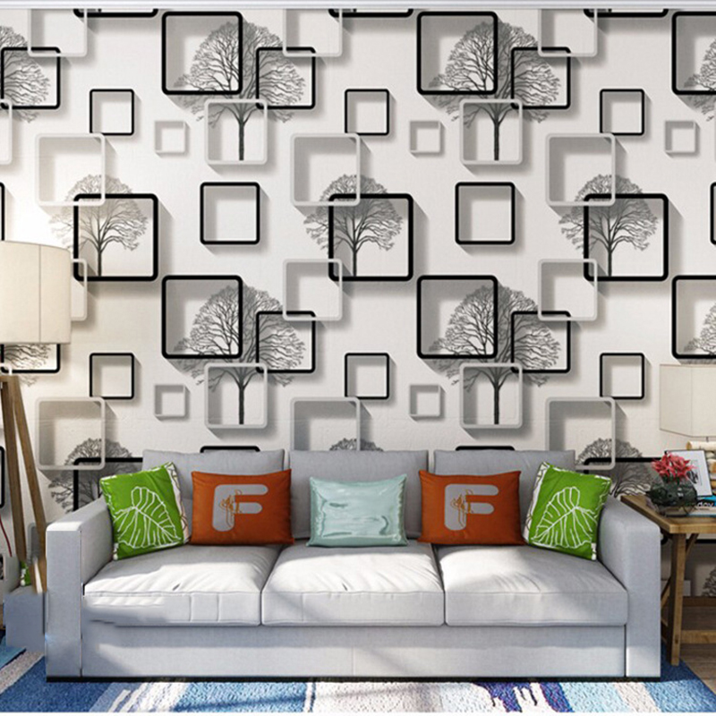 Modern 3D Frame Wallpapers Waterproof PVC Square Wall Paper for Bedroom Living Room Vinyl Background Wallpaper for Walls papeles solid color linen pattern wall paper pvc waterproof modern bedroom living room restaurant hotel background decor wallpaper roll