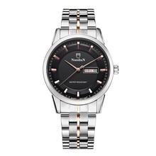 Nuodun Relojes Para Hombre de Negocios Reloj de Acero Llena Hombres Fecha Calendario Cuarzo de la Venda de Reloj Hombre Impermeable Reloj Relogios Homens