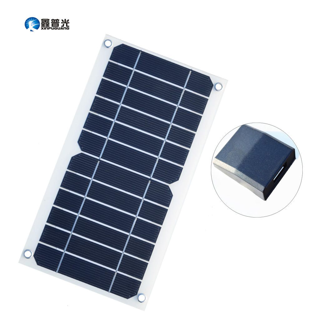 Xinpuguang semi flexible 5w 6v 1A solar panel cell USB output charger with Voltage Regulator for mobile phone iPhone power bank