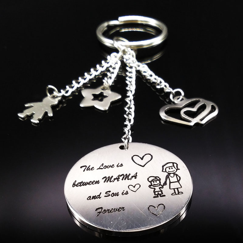 2018 Family Silver Color Stainless Steel Keychain For Women Love MAMA and Son Key Chain Jewelry Mothers Day Gift K73215