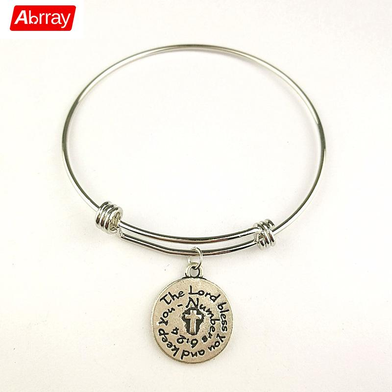 Abrray Adjustable Cuff Women Bangle Fashion Bracelets With THE LORD BLESS YOU Pendant Jewelry For Ladies Charm Copper Bangles