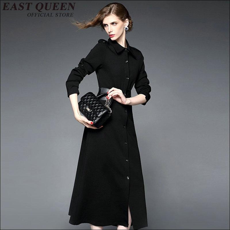 Nice nouveau sexy col rabattu robe couleur unie tissu mi-mollet robes élégant noir à manches longues robe KK1133