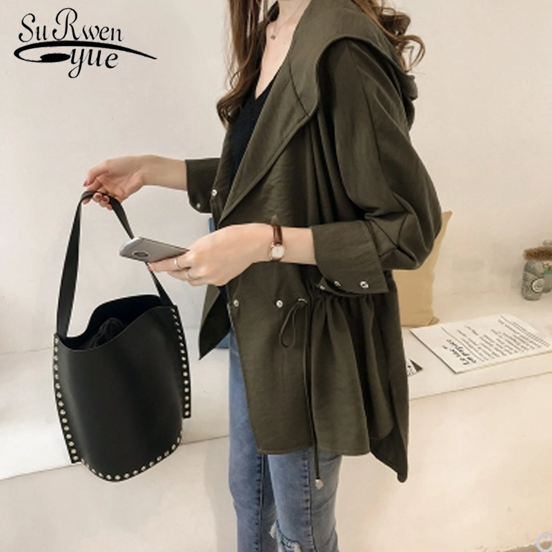 autumn fashion 2019   trench   female new loose hooded windbreaker female long sleeve womens   trench   coats plus size clothes 1729 50