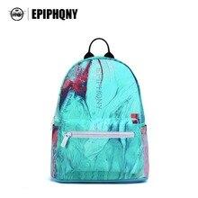Epiphqny бренд небольшой красочный цветочный рюкзак светло-голубой 3D печати полоса плечо школьная сумка логотип карман моды