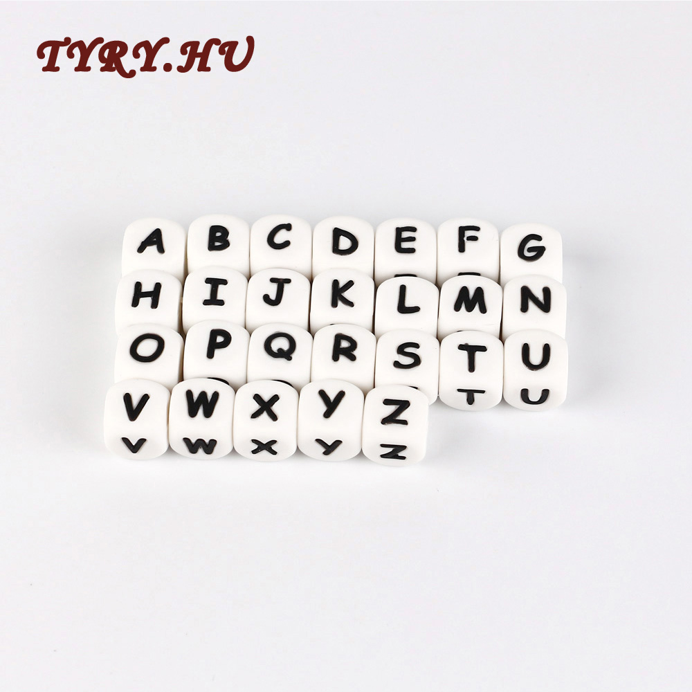 TYRY.HU 10pc Letter Silicone Beads Baby Teether Beads Chewing Alphabet Bead For Personalized Name DIY Teething Necklace 12mm ...