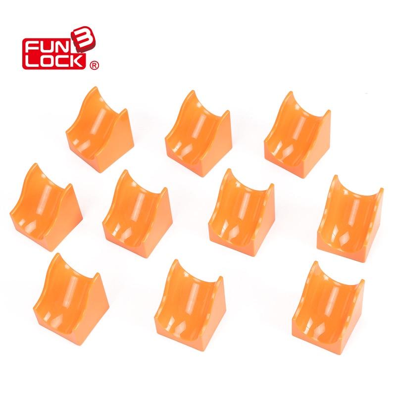 Funlock Duplo marbre course 10 pcs 2x2 pente assembler des pièces de blocs de diapositives en plastique pour les enfants