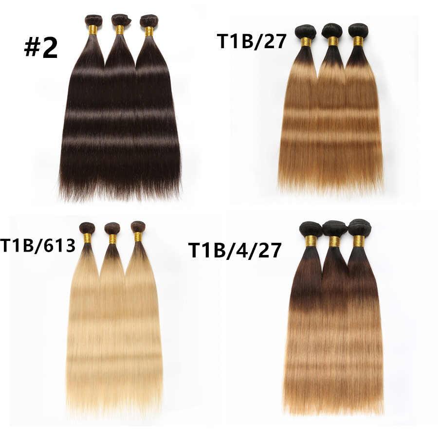 """Прямые пучки волос RXY бразильские пучки волос Продажа пучки волос """"омбре"""" #1B/#2/#4/#27/99J/#613 пучки человеческих волос переплетение пучков не Реми"""