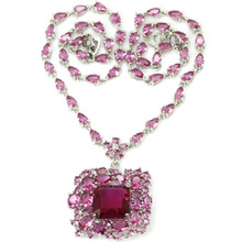 Big Pendant Pink Tourmalins Woman's Valentine's Day Present 925 Silver Necklace 19-20″ 48x34mm