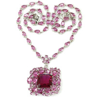 Big Pendant Pink Tourmaline Woman's Valentine's Day Present 925 Silver Necklace 19-20