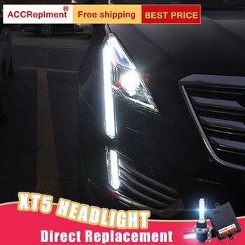 2Pcs LED Headlights For Cadillac XT5 2016-2018 led car lights Angel eyes xenon HID KIT Fog lights LED Daytime Running Lights