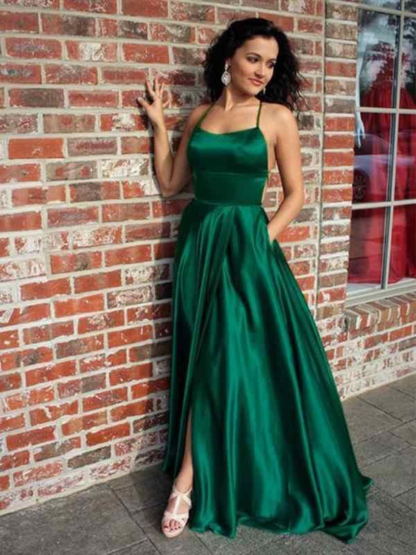 Sexy Halter Espalda Descubierta Corte Lateral A Line Largo Esmeralda Verde Vestidos De Graduación Con Bolsillos Satén Vestido Fiesta Graduación