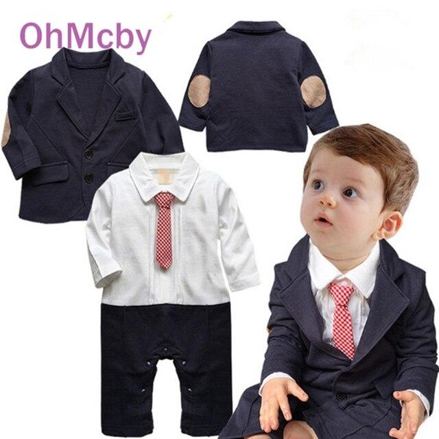2016 White black Rompers with Red Necktie Clothing Set Newborn Baby Wedding Suit Fashion Gentleman Baby Boy Clothes Set