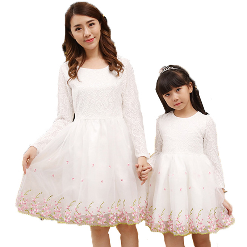 ФОТО Family Matching Clothes 2017 Spring Autumn New Fashion Mother Daughter Dresses Long Sleeve Children Clothing Girl Dresses