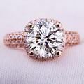 Luxury EDI Real 5ct Carat Moissanite (D-F VVS) Lab Grown Diamond Ring Solid 14K 585 Rose Gold Wedding Engagement Ring For Women