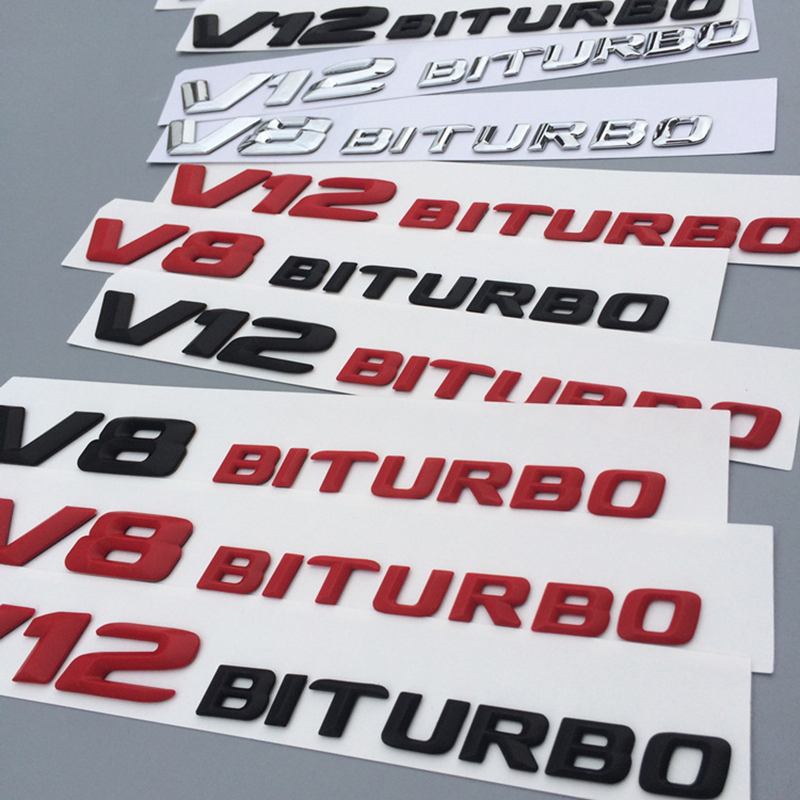 V8 V12 BITRUBO Letters Emblem Badge for Mercedes Benz C63 E300L Fender Side Supercharge Turbo Logo Car Styling Refitting Sticker