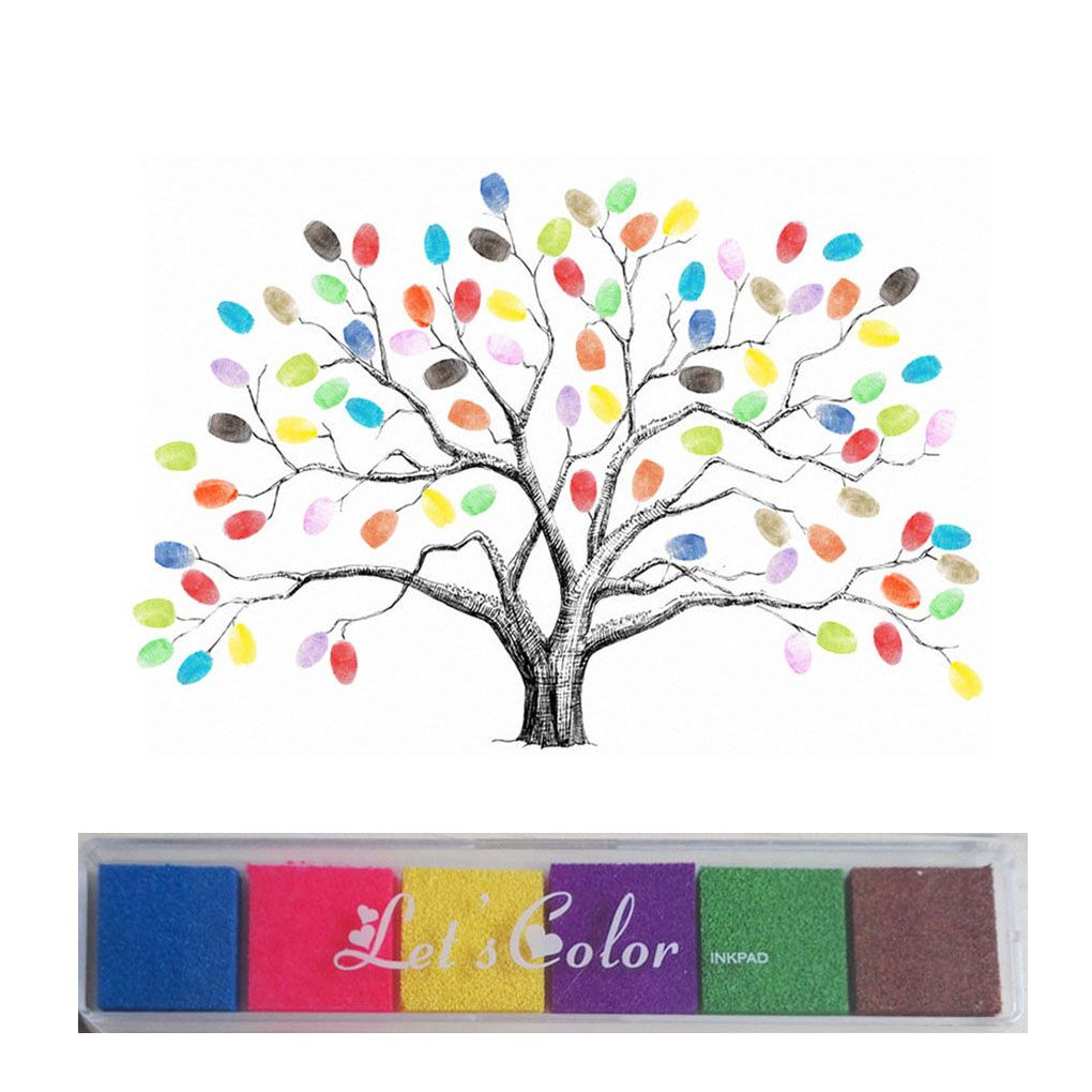 Wedding Tree with One Inkpad Fingerprint Signature Guest Book DIY Wedding Party Canvas Painting 30X40cm/40X60cm [sa] new original authentic special sales schmersal safety relays srb301lc br spot