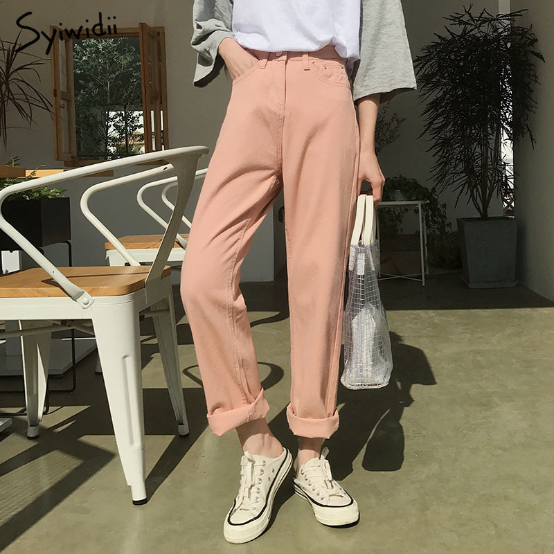 Vintage Pink Mom   Jeans   2019 High Waisted Long   Jeans   Free Style Boyfriend Beige Black   Jeans   Zipper Straight Cotton Korean   Jeans