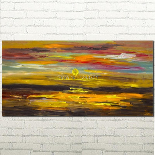 Landscape painting Abstract art Oil Painting Golden Wave seascape on ...