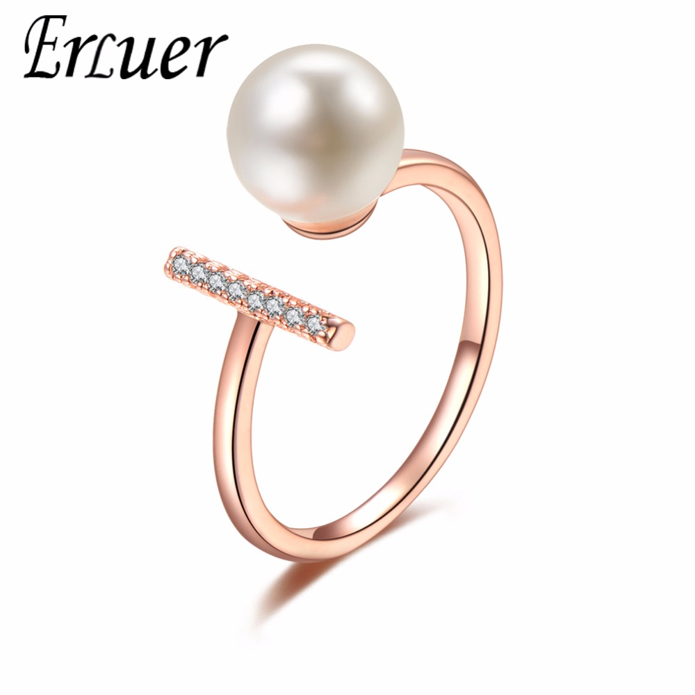 ERLUER Fashion Adjustable Jewelry Ring Imitation Pearl Ring For Women Wedding Party Ring Rose Gold Friendship Valentine Day Gift(China)