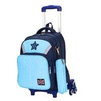 Removable Children Trolley School Bags Boys Girls 3 Wheels Bags Kids Backpacks Schoolbag Luggage Book Bag