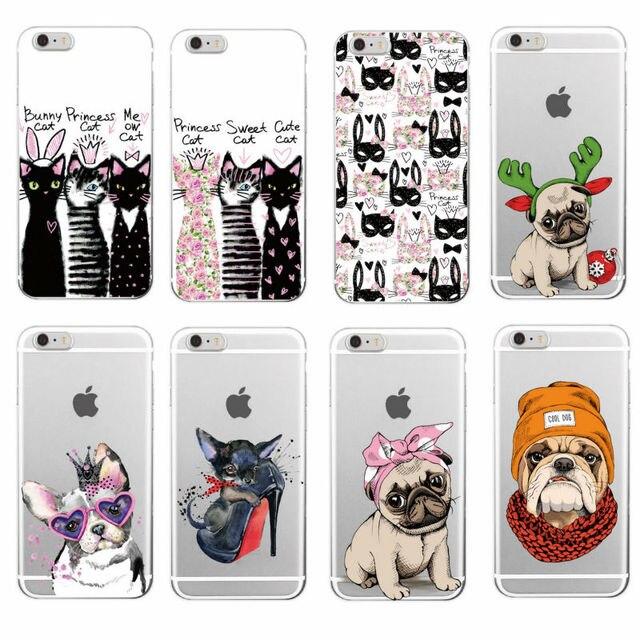 Para o iphone 7 7 Plus 6 8 8 Plus X XS Max Samsung Pug Filhote de Cachorro Bonito Do Coelho Princesa Gato Miau buldogue francês Macio Caso de Telefone Coque Funda