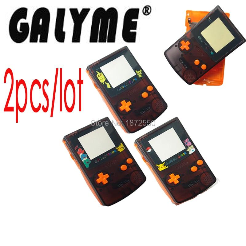 2pcslot Hot Sale Shell DIY Transprent Black-Orange Color Fit GameboyColor Game Console With Cartoon Lens Boy Advance Pocket