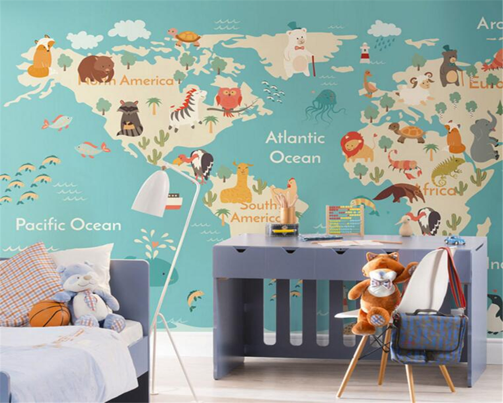 beibehang cartoon animal map kids room kindergarten garden wallpaper tv sofa background wall 3d. Black Bedroom Furniture Sets. Home Design Ideas