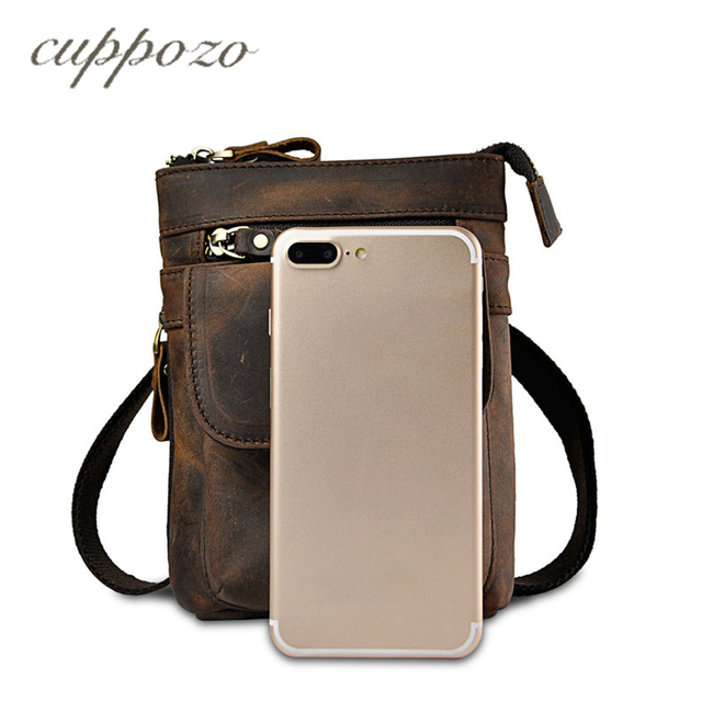 Cuppozo Waist Belt Bag Dark Brown Crazy Horse Leather Men s Small Messenger  Bag Vintage Real Cowhide Waist Pack Mobile Phone Bag 0b6d544d35c1f