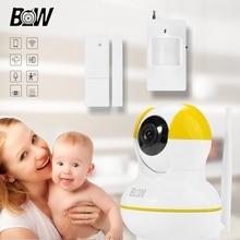 Sistema de alarma de la seguridad casera wifi monitor de bebé cámara poe cámara ip inalámbrica de infrarrojos + sensor de puerta/infrarrojos motion sensor bw12y