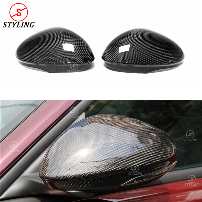 For Alfa Romeo Giulia Carbon Fiber Mirror Cover For Giulia carbon Rear side view mirror Cover Add On style 2016 - UP