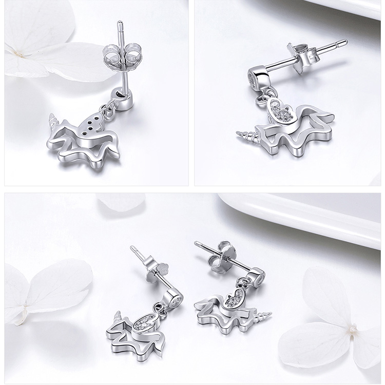 100% 925 Sterling Silver Trendy Unicorn Earrings