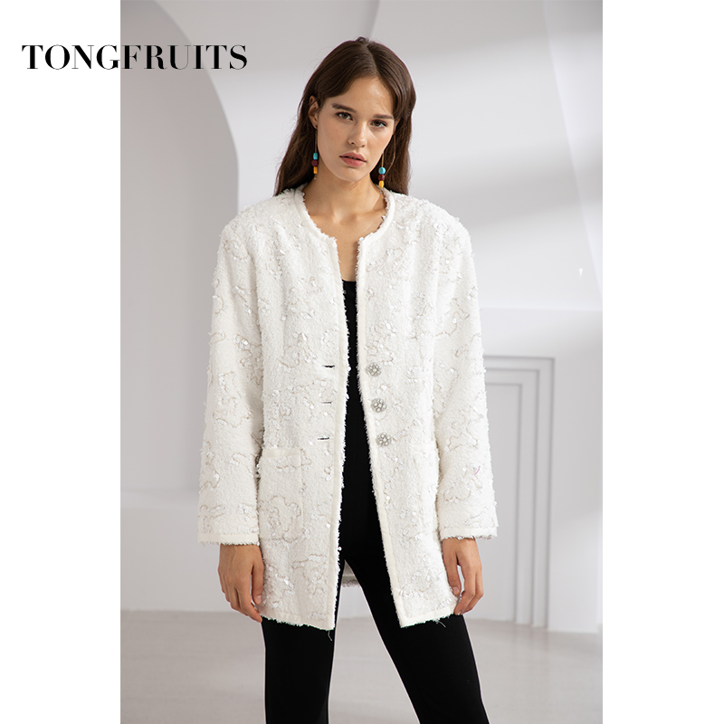 Custom Woven Fabric Jacket Women Autumn Sequin Coat Casual Single Breasted Warm Outwear Full Sleeve Female White Jacket in Jackets from Women 39 s Clothing