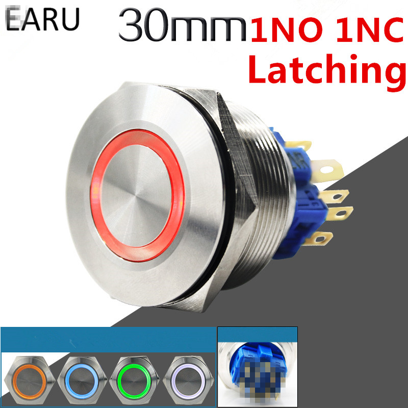30mm 1NO 1NC Metal Stainless Steel Waterproof Latching Doorebll Bell Horn LED Push Button Switch Car Auto Engine Start PC Power 19mm metal waterproof brass key push button switch latching 2 position 1no 1nc press button 19ys 2d kb