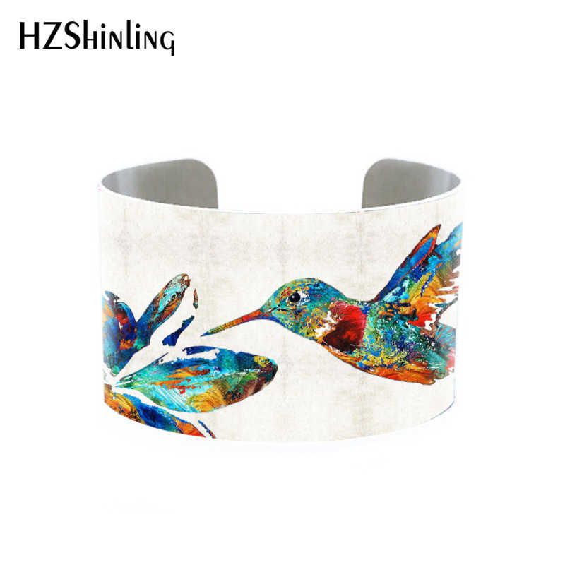 2018 Trendy Hummingbird Jewelry Cuff Bracelet Wide Metal Bangle With Humming Birds Silver Adjustable Cuffs Gifts for Her