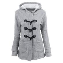 Новый 2017 Для женщин пальто Демисезонный Для женщин пальто женские длинные пальто с капюшоном и роговыми пуговицами теплая верхняя одежда Для женщин Куртки