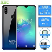 OUKITEL C15 Pro 2GB 16GB Android 9.0 Mobile Phone Quad Core Fingerprint Face Unlock 4G LTE Smartphone Dual SIM Waterdrop Screen